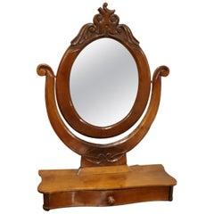 19th Century Italian Walnut Carved Dressing Table Mirror, 1880s