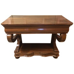 19th Century Italian Walnut Console with Drawer, 1890s