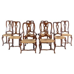 19th Century Italian Walnut Dining Chairs with Rattan Seats, Six Sides, Two Arms