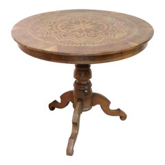 19th Century Italian Walnut Inlay Antique Round Center Table or Pedestal Table