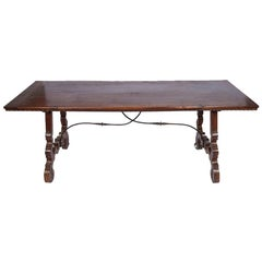 19th Century Italian Walnut Iron Trestle Table
