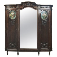 19th Century Italian Walnut Louis XVI Triple Armoire