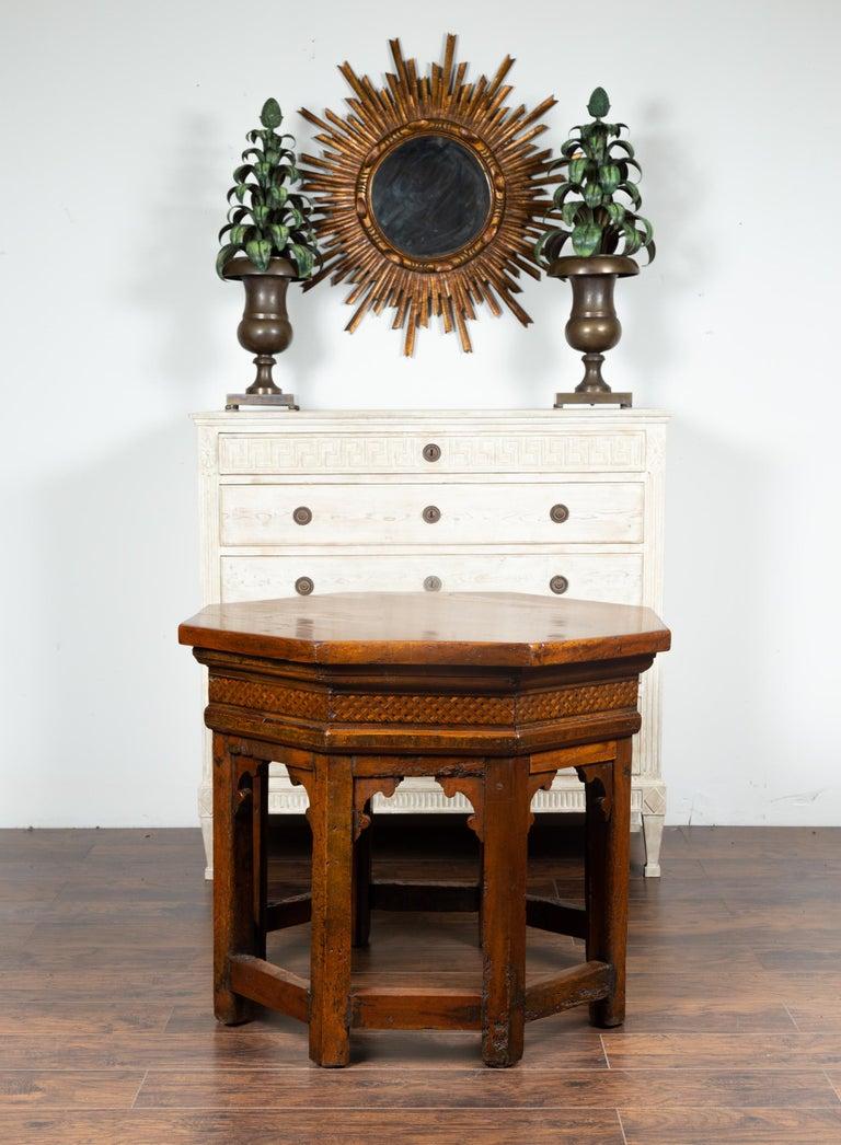 Inlay 19th Century Italian Walnut Octagonal Table with Inlaid Trompe-L'œil Motifs For Sale
