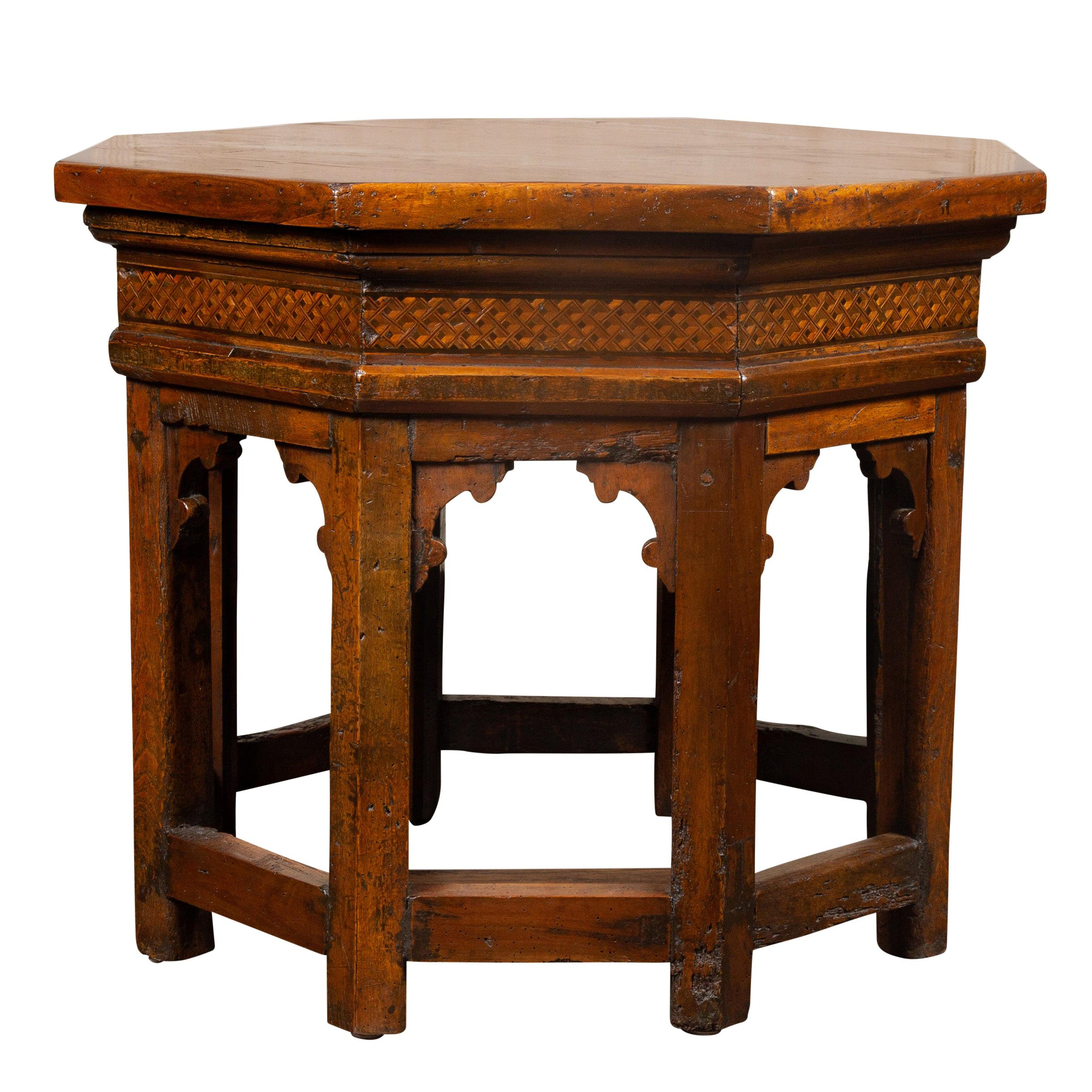 19th Century Italian Walnut Octagonal Table with Inlaid Trompe-L'œil Motifs