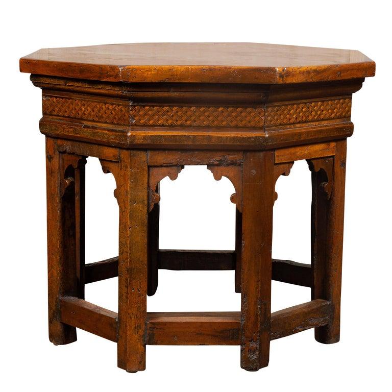 19th Century Italian Walnut Octagonal Table with Inlaid Trompe-L'œil Motifs For Sale