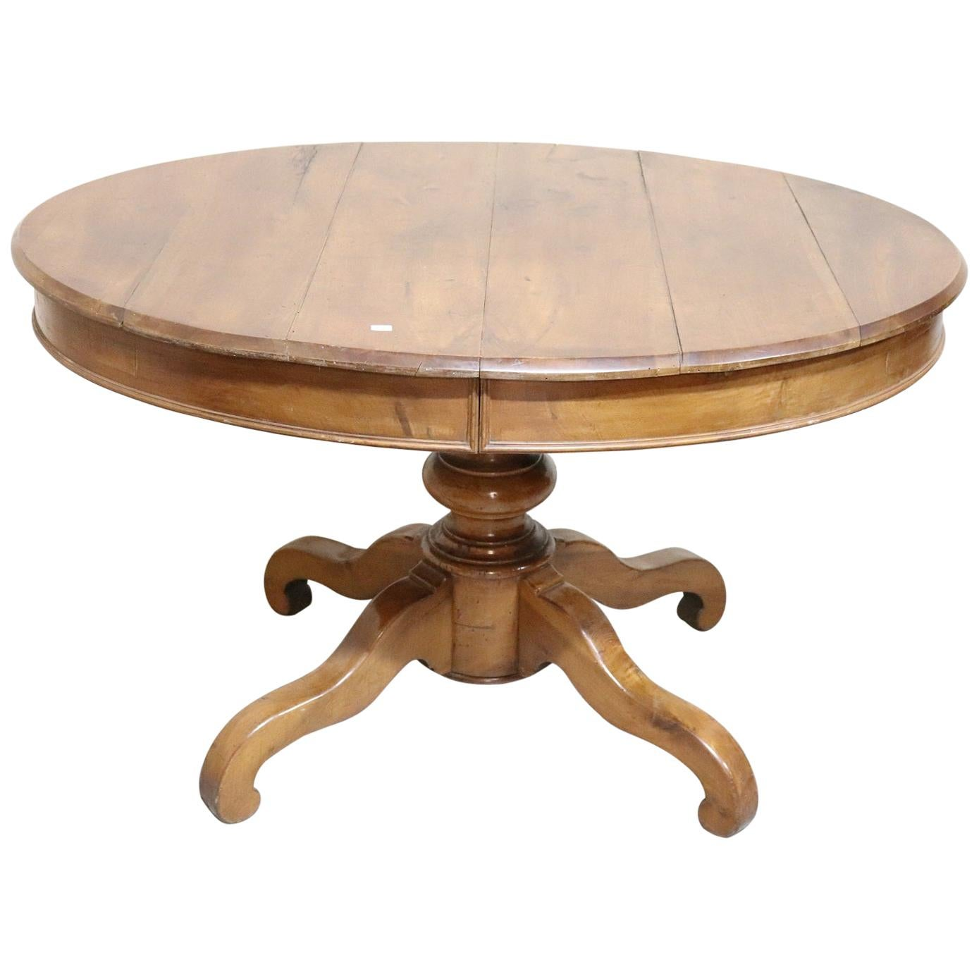19th Century Italian Walnut Oval Extendable Antique Dining Room Table