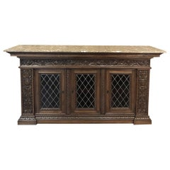 19th Century Italian Walnut Renaissance Marble-Top Buffet