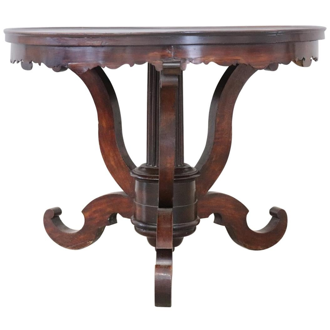 19th Century Italian Walnut Round Center Table