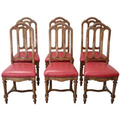 19th Century Italian Walnut Set of Six Chairs with Red Leather