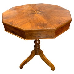 19th Century Italian Walnut Side Table with Star Inlay