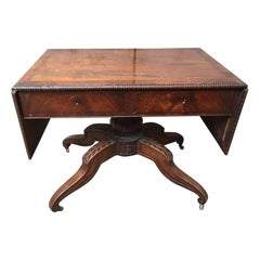 19th Century Italian Walnut Table with Double Hinged Top, 1890s