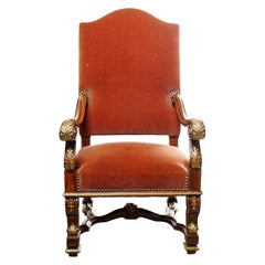 19th Century Italian Walnut Throne Chair