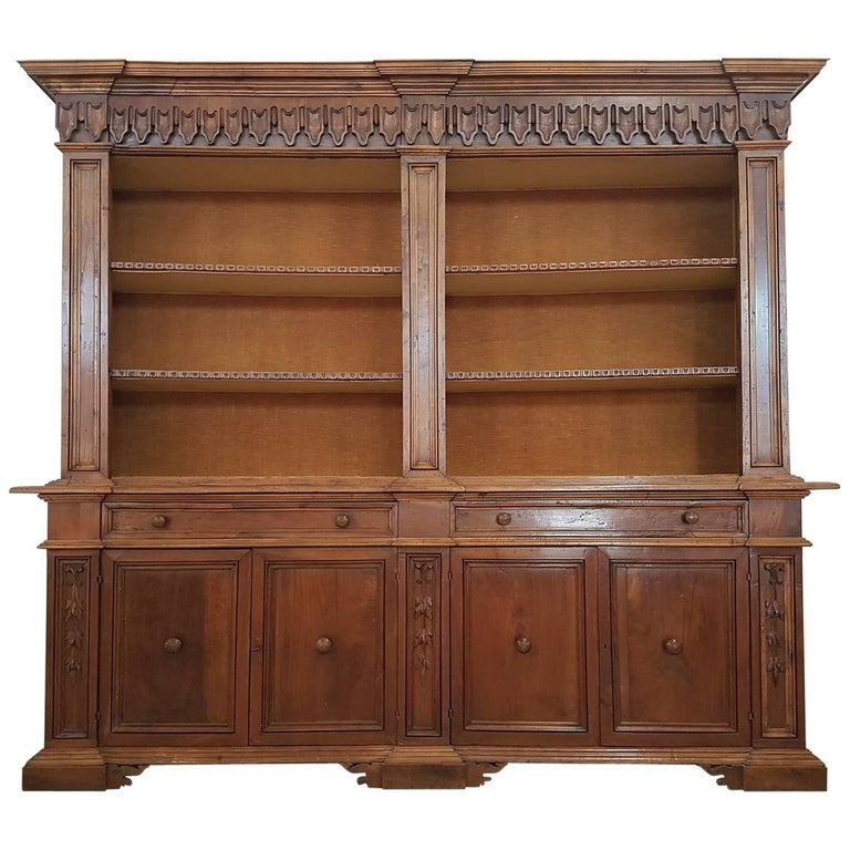 Wood Bookshelves For Sale: 19th Century Italian Walnut Wood Bookcase Or Sideboard For