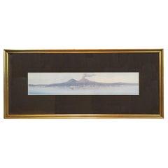 19th Century Italian Watercolor/Gouache Painting of Bay of Naples, Rosa Corelli