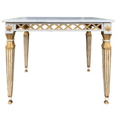 19th Century Italian White and Gilt Painted Side Table with White Marble Top