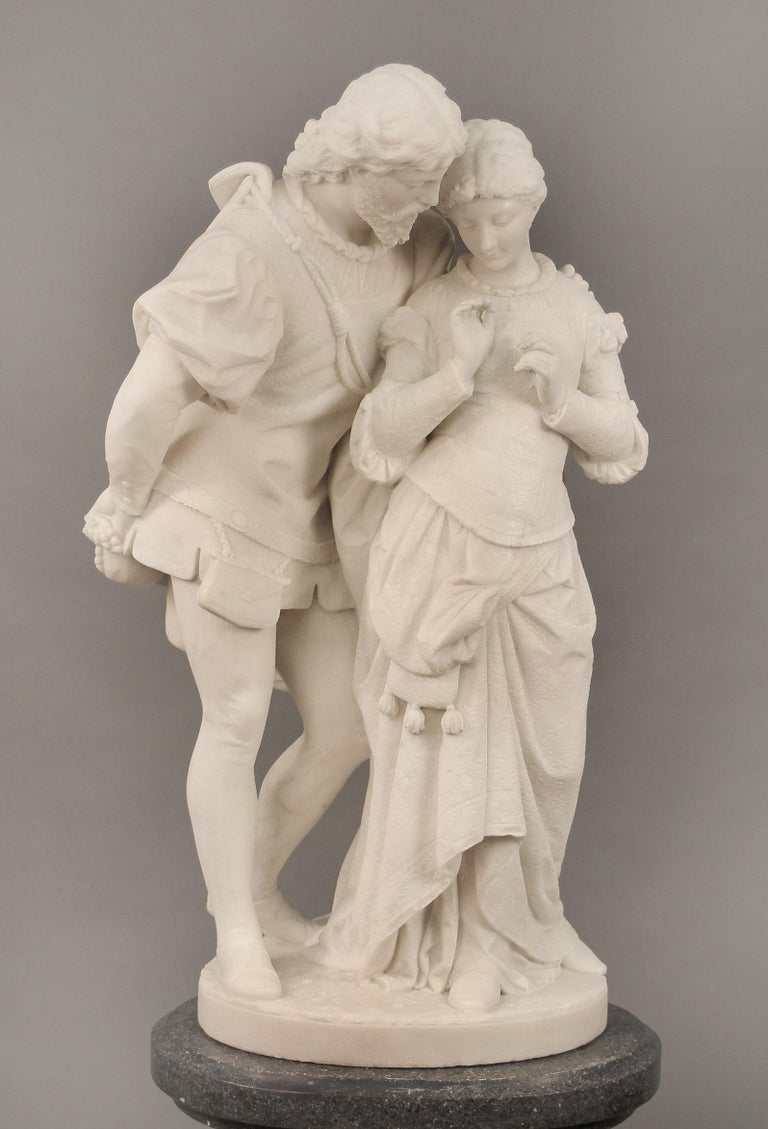 "A fantastic late 19th century Italian white Carrara marble entitled ""Paolo and Francesca"" by Pasquale Romanelli