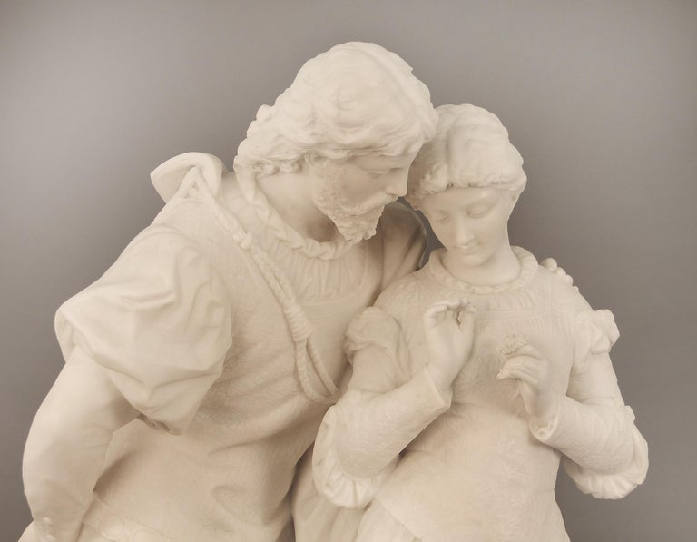 "Belle Époque 19th Century Italian White Carrara Marble, ""Paolo and Francesca"" by Romanelli For Sale"