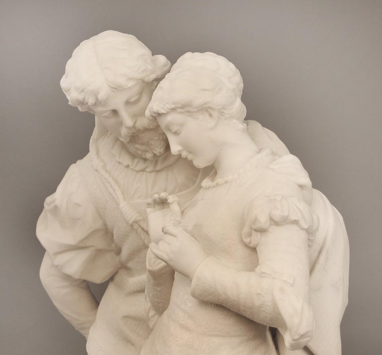 "Hand-Carved 19th Century Italian White Carrara Marble, ""Paolo and Francesca"" by Romanelli For Sale"