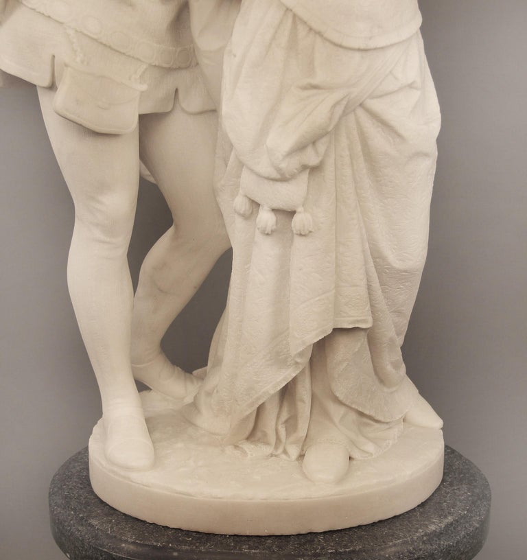 "19th Century Italian White Carrara Marble, ""Paolo and Francesca"" by Romanelli For Sale 1"