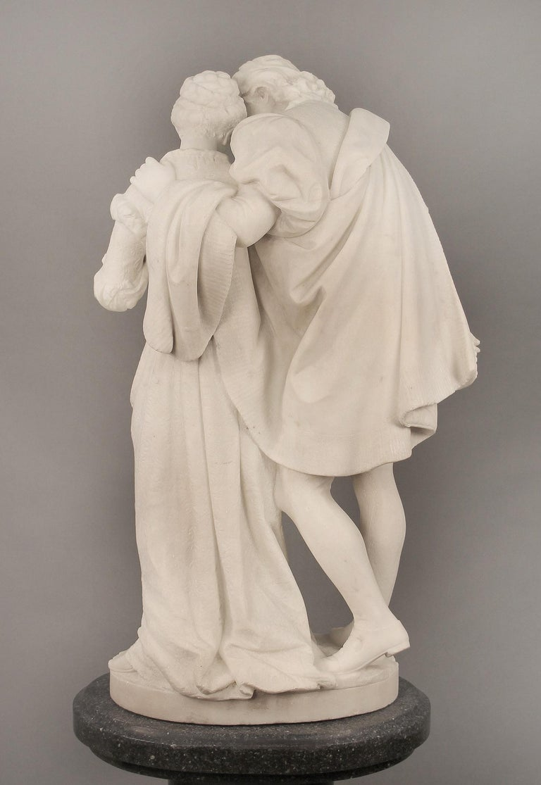 "19th Century Italian White Carrara Marble, ""Paolo and Francesca"" by Romanelli For Sale 2"