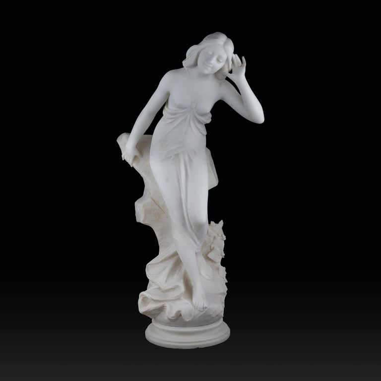 An Italian white marble sculpture of a half nude beauty by A. Batacchi. Batacchi was active in Florence, Italy in the late 19th century. He worked mostly with female models, usually depicting allegorical subjects, creating fabulous works with great