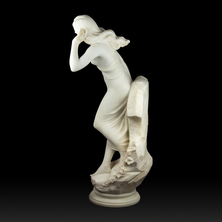 Italian White Marble Sculpture of a Half Nude Beauty by A. Batacchi In Good Condition For Sale In New York, NY