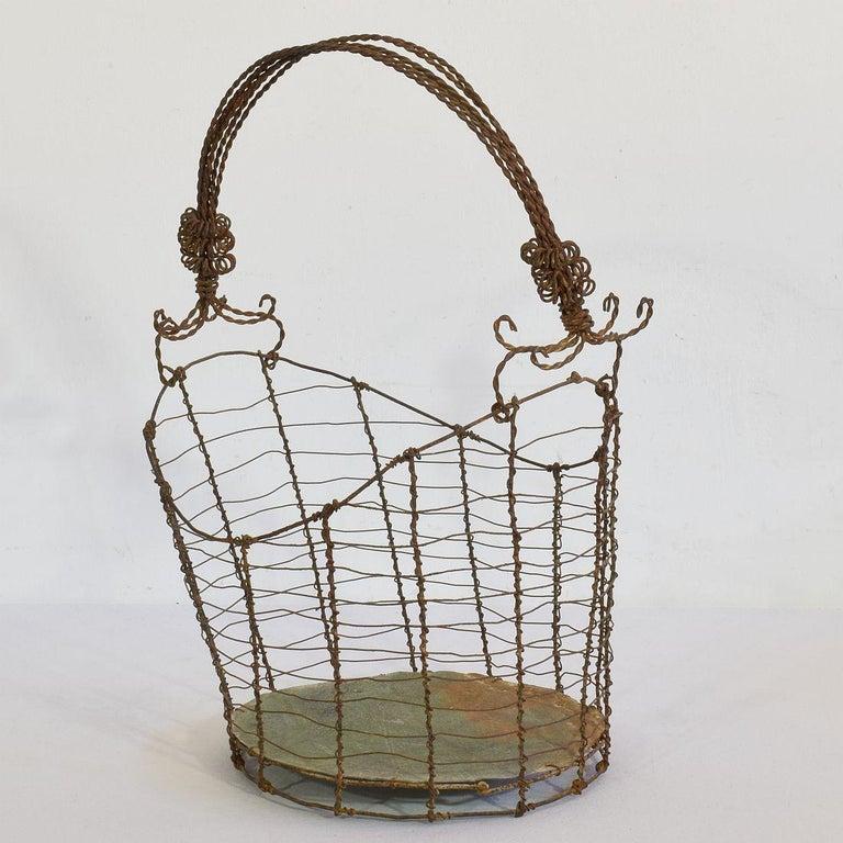 Iron 19th Century Italian Wirework Basket For Sale