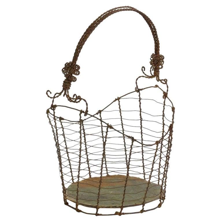 19th Century Italian Wirework Basket For Sale
