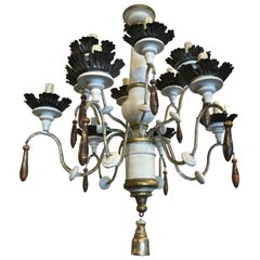19th Century Italian Wood and Iron Chandelier
