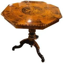 19th Century Italian Wood Louis Philippe Walnut Inlay Rollo Table, 1870s