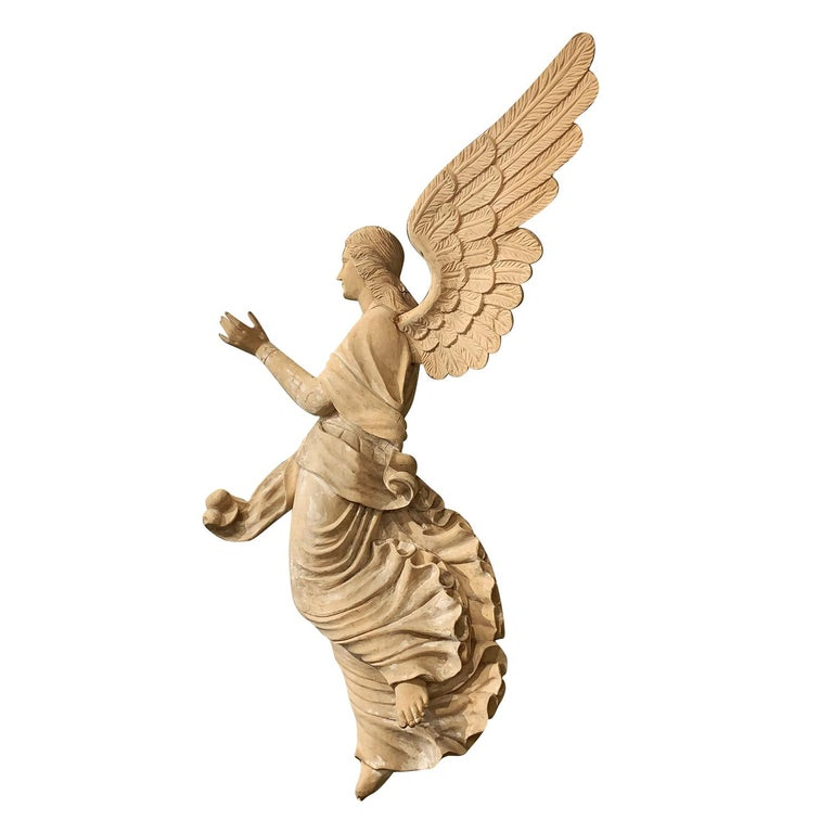 Baroque 19th Century Italian Wooden Angels Relief, Antique Basswood Wall Decor For Sale