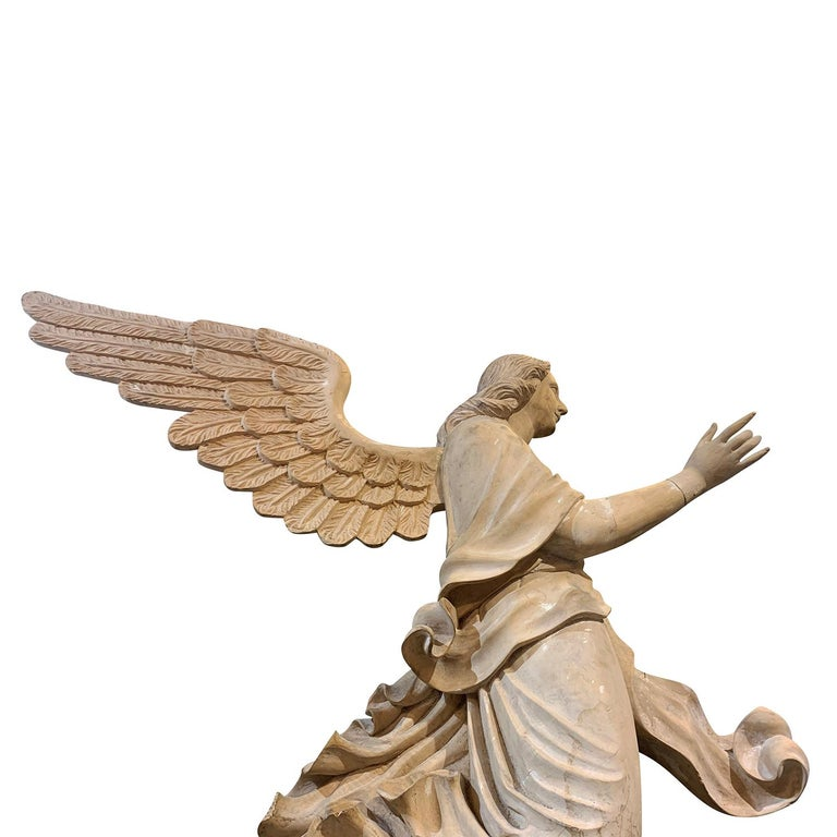 19th Century Italian Wooden Angels Relief, Antique Basswood Wall Decor For Sale 1