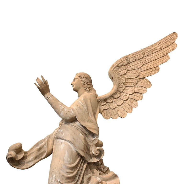 19th Century Italian Wooden Angels Relief, Antique Basswood Wall Decor For Sale 2