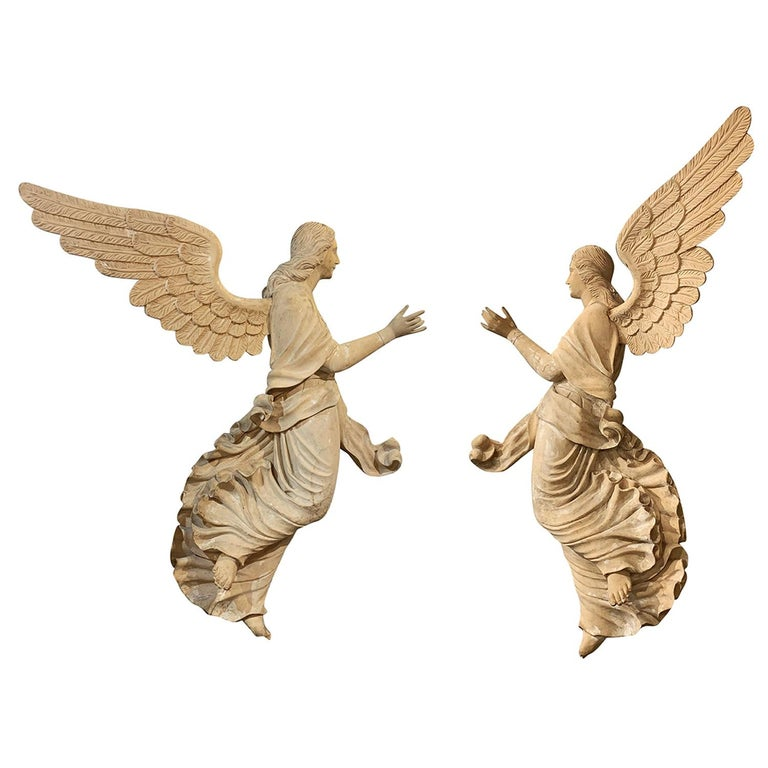 19th Century Italian Wooden Angels Relief, Antique Basswood Wall Decor For Sale