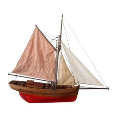 19th Century Italian Wooden & Canvas Handmade Model Sail Boat