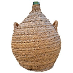 19th Century Italian Woven Wicker Covered Wine Jar
