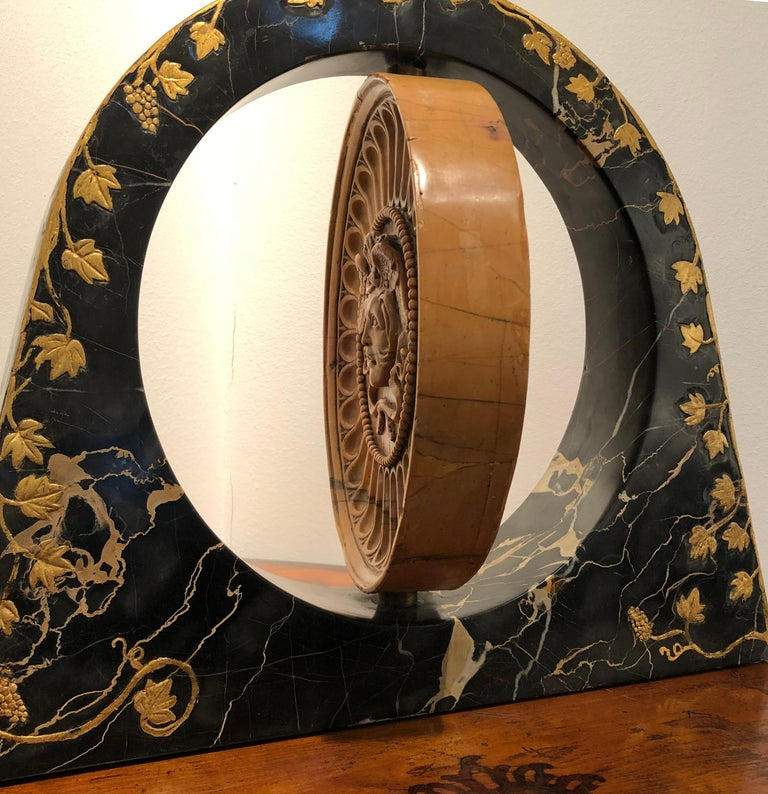 19th Century Italian Yellow Marble Black Gold Marble Rotating Sculpture Erotic For Sale 7