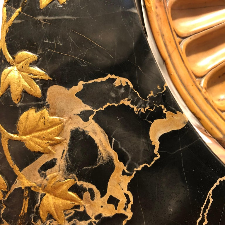 19th Century Italian Yellow Marble Black Gold Marble Rotating Sculpture Erotic In Excellent Condition For Sale In Roma, IT