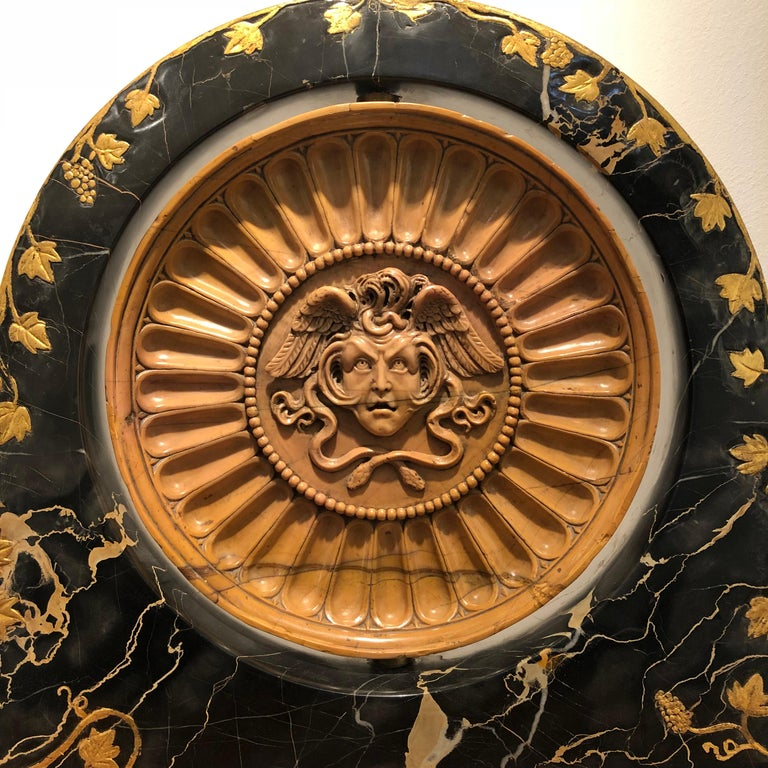 19th Century Italian Yellow Marble Black Gold Marble Rotating Sculpture Erotic For Sale 1