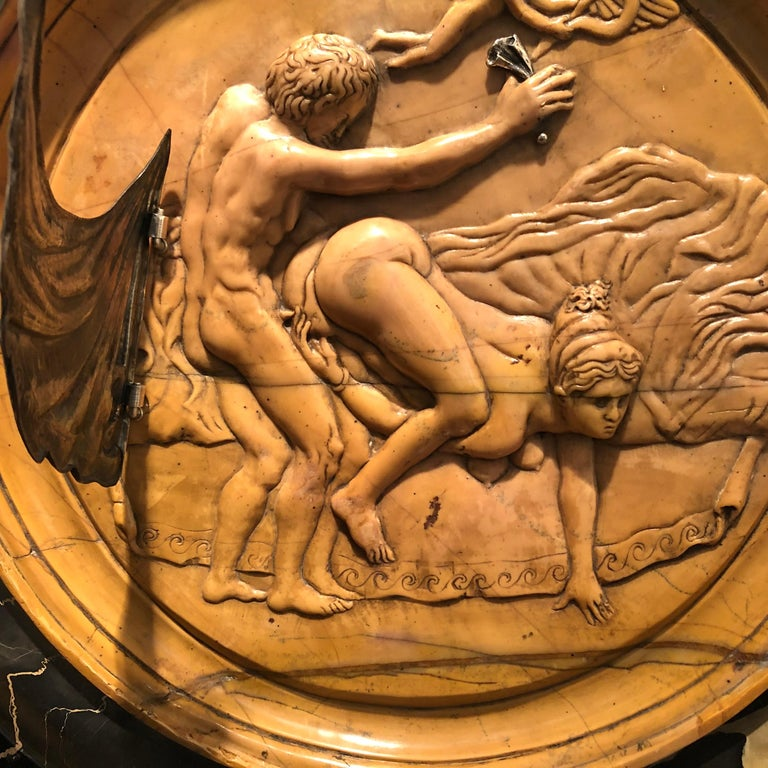 19th Century Italian Yellow Marble Black Gold Marble Rotating Sculpture Erotic For Sale 4