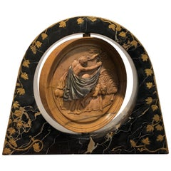 19th Century Italian Yellow Marble Black Gold Marble Rotating Sculpture Erotic