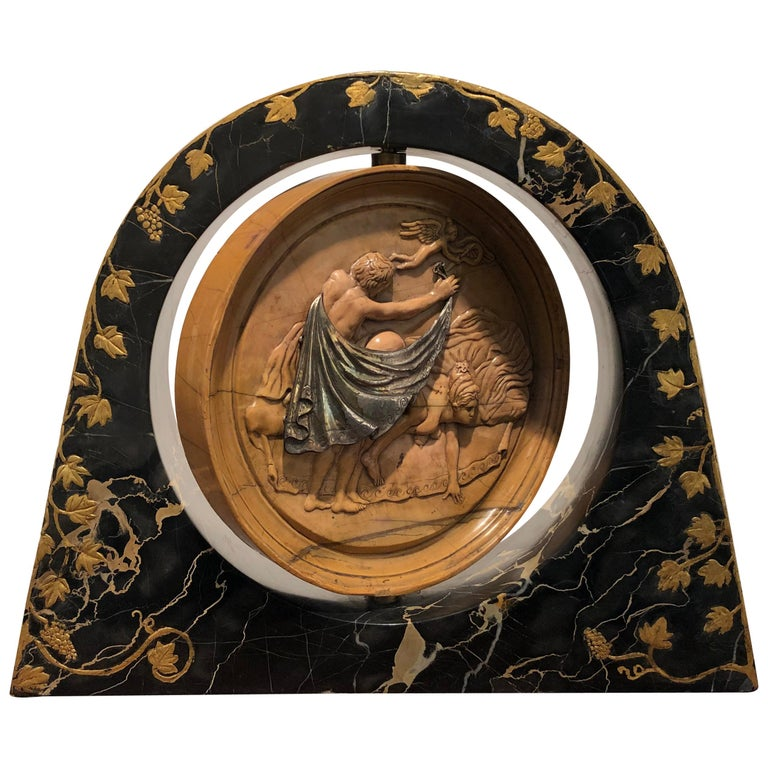 19th Century Italian Yellow Marble Black Gold Marble Rotating Sculpture Erotic For Sale