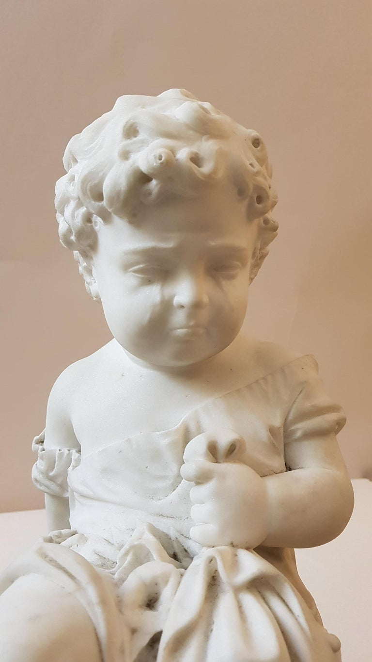 Italy Romantic Sculpture Big White Marble Child 1850 For