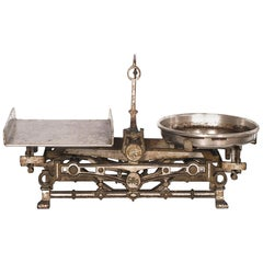 19th Century, J. Florenz Wien Chrome Steel Austrian Balance, 11 Brass Weights