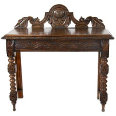 19th Century Jacobean Revival Carved Oak Side Table