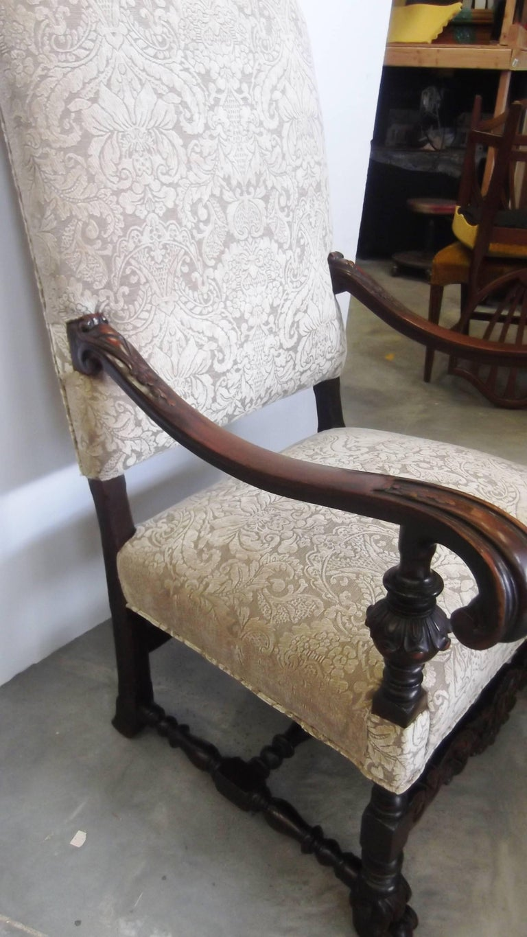 Fabric 19th Century Jacobean Style Carved Walnut Upholstered Armchair For Sale