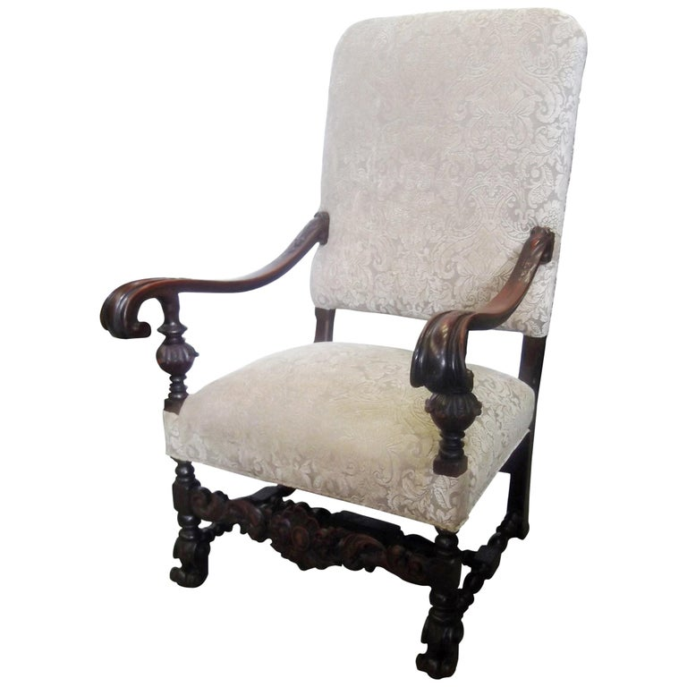 19th Century Jacobean Style Carved Walnut Upholstered Armchair For Sale