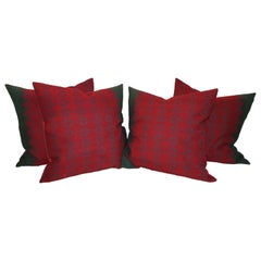 19th Century Jacquard Woven Coverlet Pillows, Collection of Four Pillows