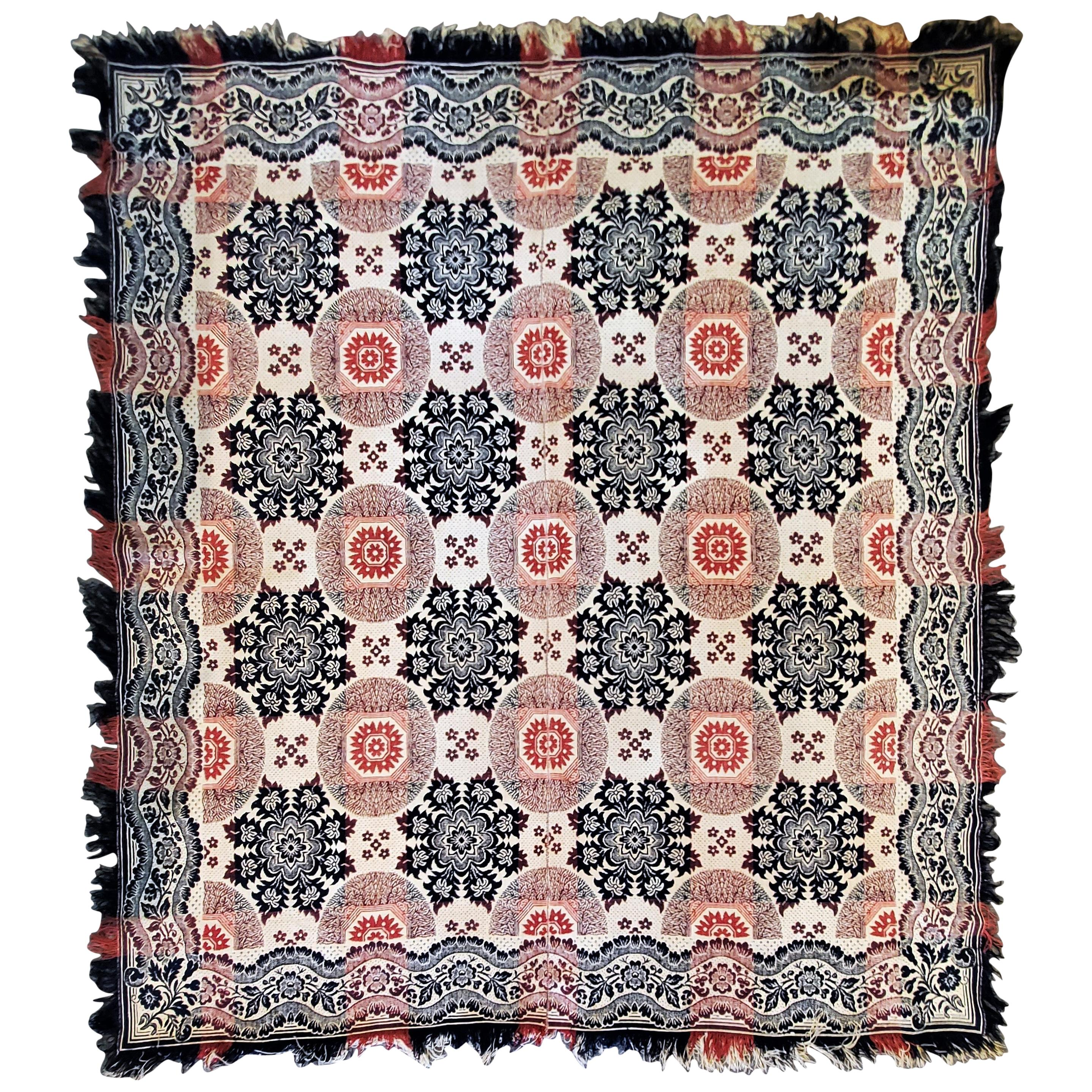 19th Century Jacquard Woven Coverlet with Fringe