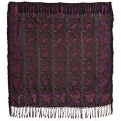 19th Century French Jacquard Woven Silk Shawl